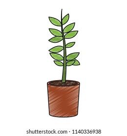 Plant in pot scribble