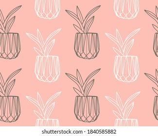 Plant seamless vector pattern. Potted plant hand drawn. Cute outline flower sketch. Vector illustration