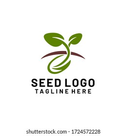 Plant Seeds Logo Concept Template Vector