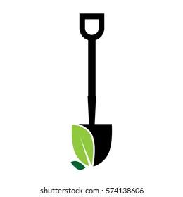 plant shovel gardener logo