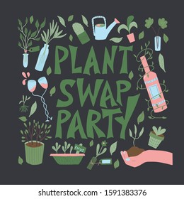 Plant swap party poster. Share indoor plants event. Template for invitation for club members. Vector flat illustration.