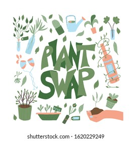 Plant swap poster. Share indoor plants event. Template for invitation for party. Vector flat illustration.