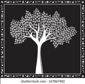 Plant a Tree - Monochrome white on black tree poster, woodcut style