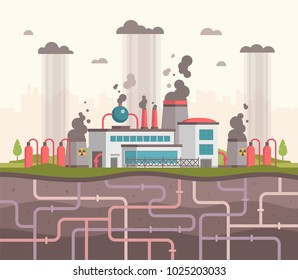 Plant with underground pipes - modern flat design style vector illustration. A composition with a big factory making hazardous substances emissions. Smoke in the air. Air pollution concept
