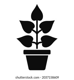 Plant in a vase with five big leaves vector high quality black icon isolated on white background