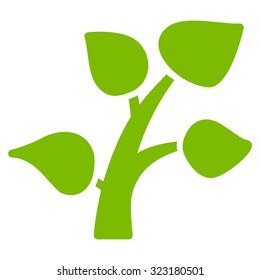 Plant vector icon. Style is flat symbol, eco green color, rounded angles, white background.