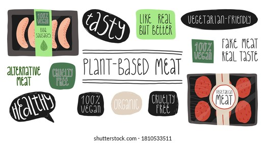 Plant-based meat set. Grill sausages pack, burger patties, hand lettering stickers Vegetarian-friendly, 100 percent vegan, healthy, tasty, Cruelty free, Organic, Like real but better.