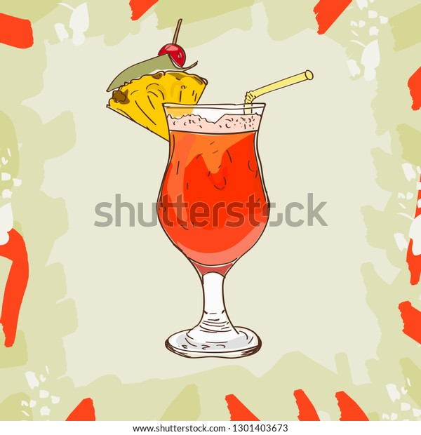 Planter Punch Sketch Cocktail Dark Rum Stock Vector Royalty