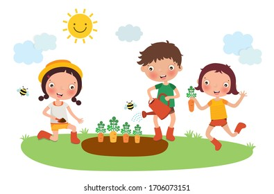 Planting, Growing, and Harvesting carrot by kids, vector, illustration