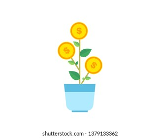 Planting and growing money in pot. Growing money tree with coins and money. Dollar plant in the pot-vector web icon isolated on white background, EPS 10, top view.