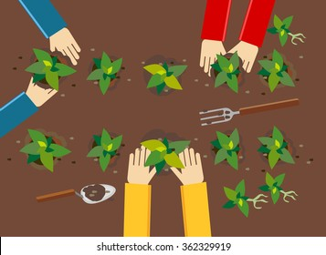 Planting illustration. Planting concept. Flat design illustration concepts for working, farming, harvesting, gardening, architectural, seeding, cultivate, go green.