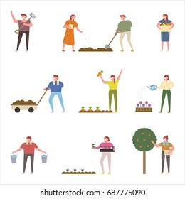 Planting people vector illustration flat design