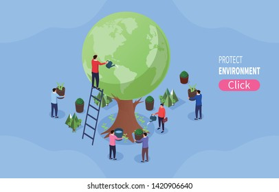Planting, protecting the environment, protecting the earth