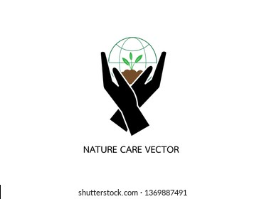 Planting sapling. Male farmer, gardener holding a green sprout in hand.Vector logo template. World Nature care concept.