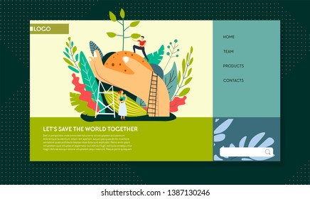 Planting trees ecology and environment protection web page template vector man and woman ecologists world protection planet preservation stop pollution clean air action Internet site ground in hand