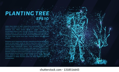Planting trees from particles on a dark background. Planting trees out of circles and dots