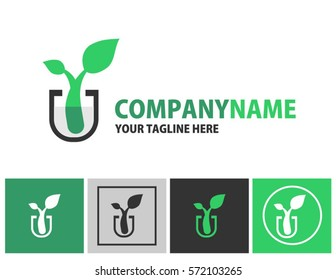 Plantlet logo and apps icon design elements. Green plants in test tube creative and unique logo concept for business, company, or organization