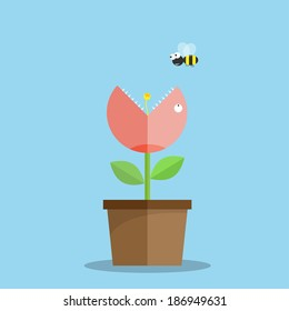 Plants are carnivorous, eating bees. concept vector illustration.