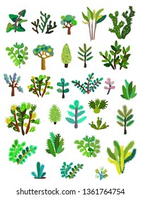 Plants collections with leaves and flowers. Vector graphic illustration