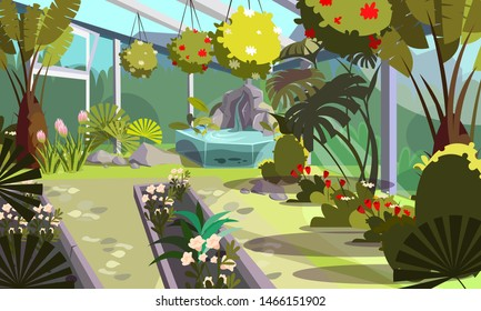 Plants in empty greenhouse flat illustration. Home garden, orangery interior design. Cartoon exotic decorative flowers, tropical palms in hothouse drawing. Trees and bushes cultivation technology
