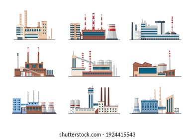 Plants and factories set. Industrial buildings with smoke pipes isolated on white. Vector illustration for manufacture in city, industry, exhaust gas concept