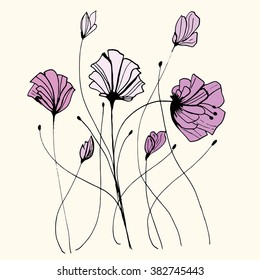 Plants. Flowers. Grass. Set. Line art. Silhouette. Graphic arts. Drawing by hand. Dudling. Black and white. Sheets. Dry grass. Wild plants.