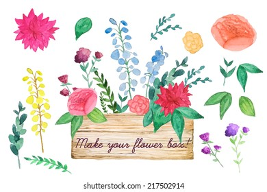 Plants and flowers wooden box set. Watercolor vintage illustration.