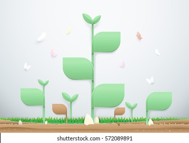 Plants grow up on the soil with butterflies. Ecology concept and paper art style
