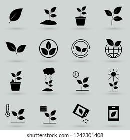 plants icons set vector