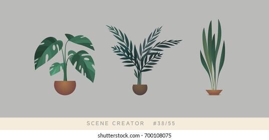 Plants. Isolated objects. Interior scene creator set.