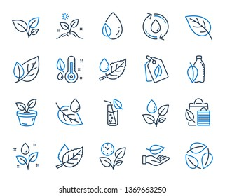 Plants line icons. Mint leaf, Growing plants and Humidity thermometer icons. Bottle with mint water, Nature care, leaf on hand. Gardening new flower, environment, water drop and thermometer. Vector