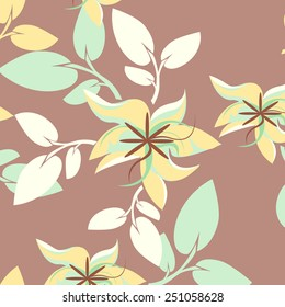 Plants Seamless Pattern Background - Illustration
