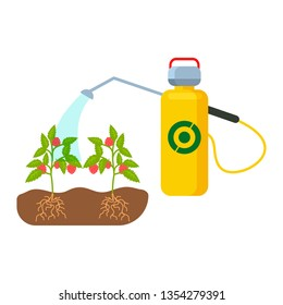 Plants, Sprouts Watering Color Vector Illustration. Berry Spraying with Pesticides. Bottle with Herbicide. Strawberry Runners Growing in Ground. Roots in Soil. Cultivation Technology. Insecticide