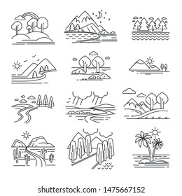Plants and water or mountains, outline landscapes isolated natural views vector. Tree and hills, mountains and lakes, forest and rocks, desert and road. Island with palms, wildlife, vegetation and sea