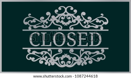 plaque inscriptionclosed template laser cutting machine stock vector