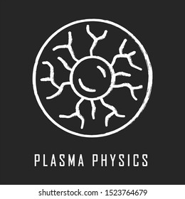 Plasma physics chalk icon. High energy state of matter. Astrophysical phenomena. Ionized gaseous substance. Subatomic physical process model. Nuclear fusion. Isolated vector chalkboard illustration