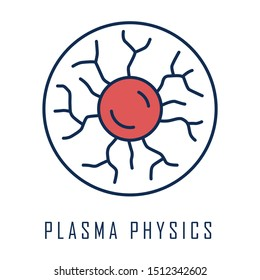 Plasma physics color icon. High energy state of matter. Astrophysical phenomena. Ionized gaseous substance. Subatomic physical process model. Nuclear fusion. Isolated vector illustration