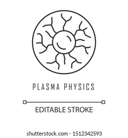 Plasma physics linear icon. High energy state of matter. Astrophysical phenomena. Ionized gaseous substance. Thin line illustration. Contour symbol. Vector isolated outline drawing. Editable stroke