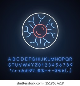 Plasma physics neon light icon. High energy state of matter. Astrophysical phenomena. Ionized gaseous substance. Glowing sign with alphabet, numbers and symbols. Vector isolated illustration