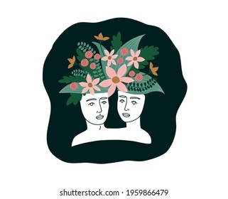 Plaster heads of a woman and a man. Creative planter for flowers. Decorative flowers. Trend illustration. Bohemian portraits. Flowers instead of hair. Antique statues. Fashionable print on clothes.