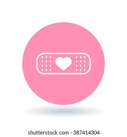 Plaster heart icon. Bandage love sign. Band aid symbol. White icon on pink circle background. Vector illustration.