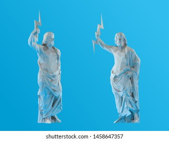 Plaster Zeus. Set of White Zeus on Blue Background. Low Poly Vector 3D Rendering