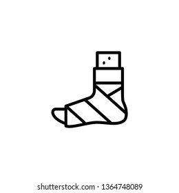 Plastered foot icon. Broken leg icon. Broken feet with bandage illustration symbol design. Element of medicine physiotherapy of legs symbol for mobile concept and web apps.
