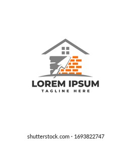 Plastering Brick Wall House with Pock Logo Vector Icon Illustration