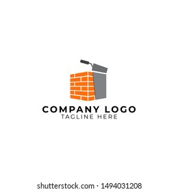 plastering cement brick wall with pock logo vector icon ilustration, brick wall plaster logo icon