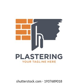 Plastering template logo design. illustration of trowel plastering with stacked brick