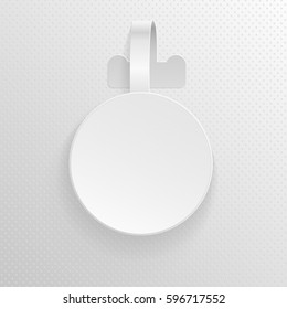 Plastic advertising wobbler, round papper price tag vector template