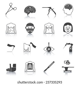 Plastic aesthetic surgery medical operation healthcare hospital icons black set isolated vector illustration