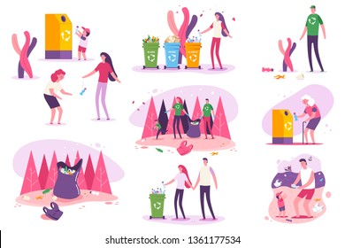 Plastic awareness and environmental issues around the world vector concept illustration. Family clean beaches and forests.