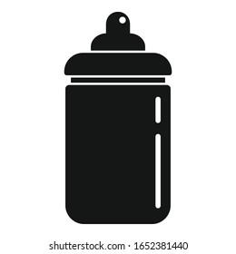 Plastic baby bottle icon. Simple illustration of plastic baby bottle vector icon for web design isolated on white background